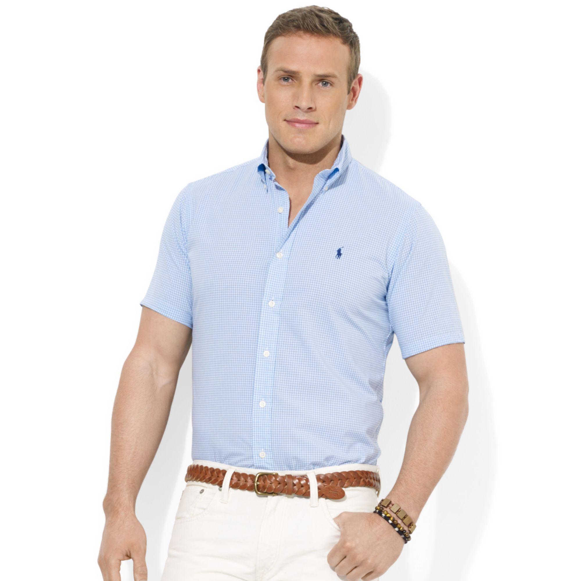 Polo Ralph Lauren Polo Big And Tall Poplin Shirt In Blue