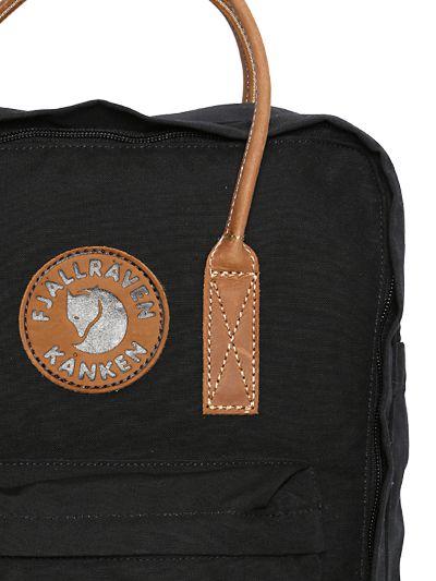 Fjallraven 16 L Kanken Canvas & Leather Backpack in Black