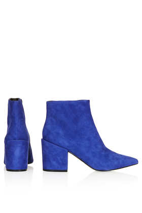 TOPSHOP Aba Pointed Ankle Boots in Blue