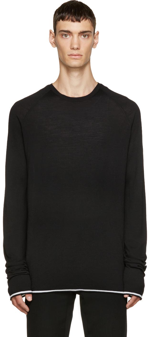 lyst haider ackermann black fine line sweater in black. Black Bedroom Furniture Sets. Home Design Ideas
