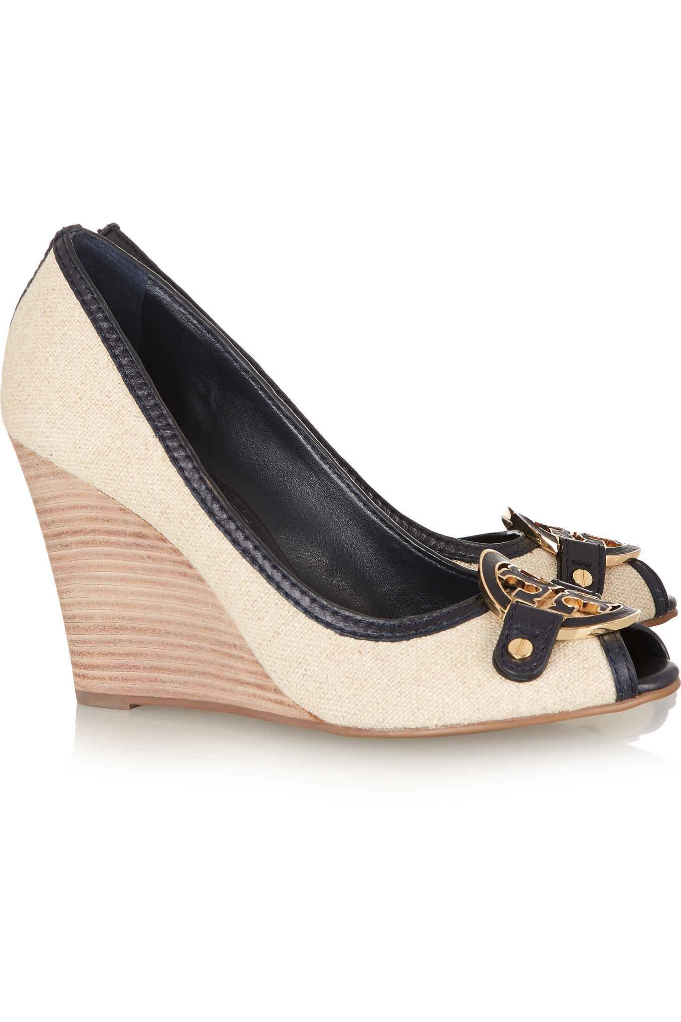 1133b6e7d693 Tory Burch Amanda Leather-trimmed Canvas Wedge Pumps in Natural - Lyst
