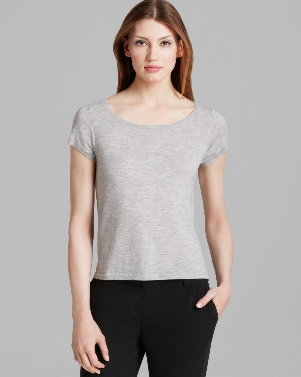 6304a1c8e66 Lyst - Eileen Fisher Ballet Neck Cap Sleeve Cashmere Tee in Gray