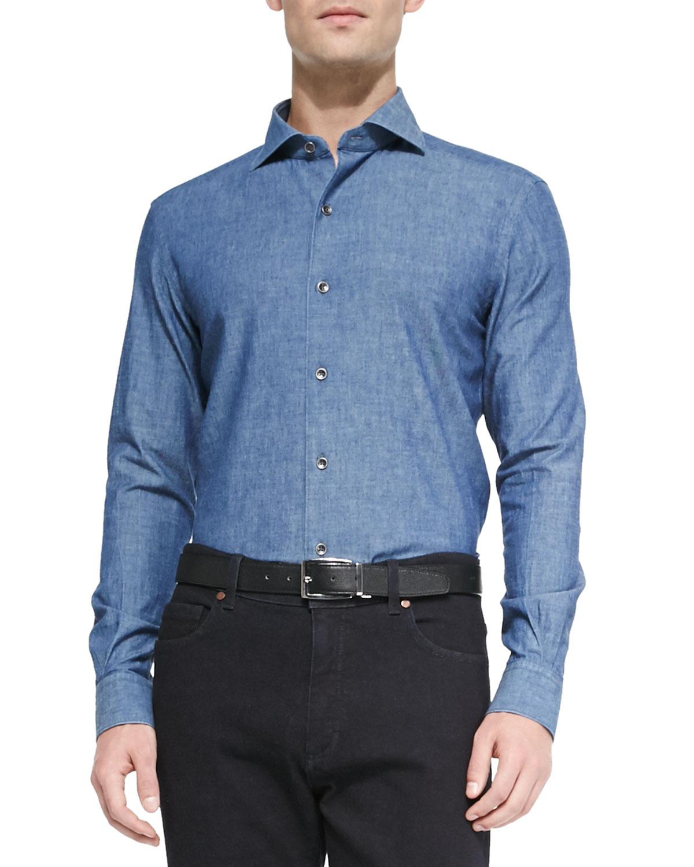 ermenegildo zegna woven denim shirt in blue for men denim lyst. Black Bedroom Furniture Sets. Home Design Ideas