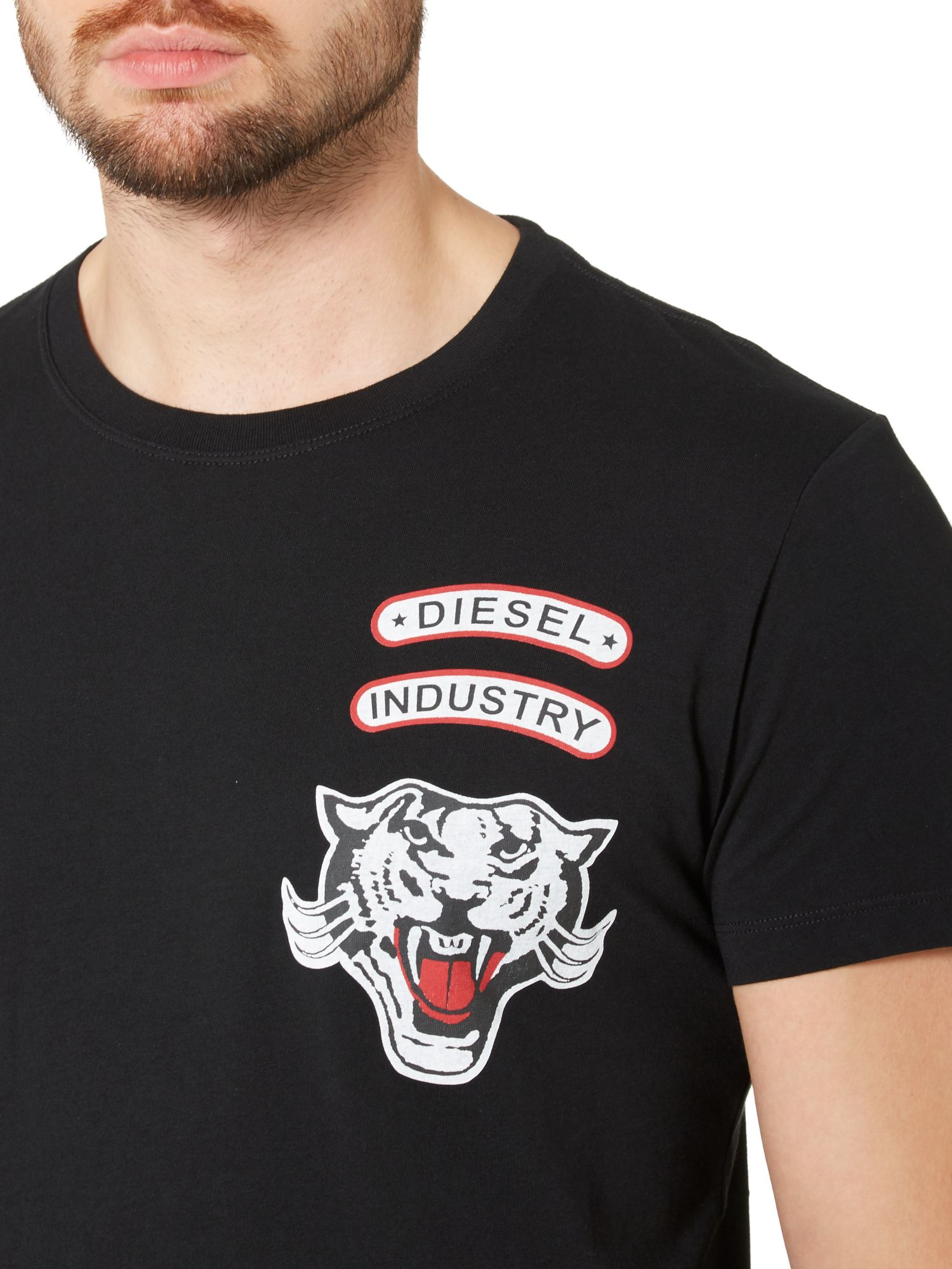 Lyst diesel t newyn tiger embroidered logo t shirt in for Embroidered logos on shirts