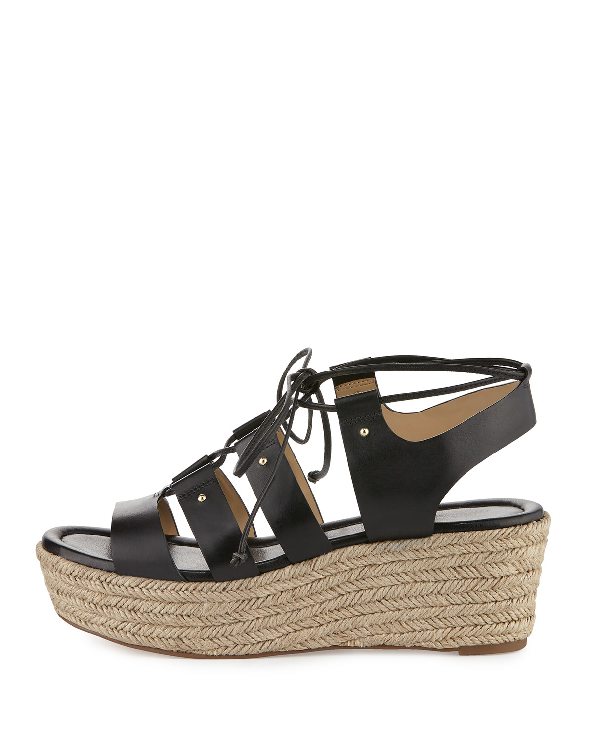 880843e771b Lyst - MICHAEL Michael Kors Sofia Lace-up Mid-wedge Sandal in Natural