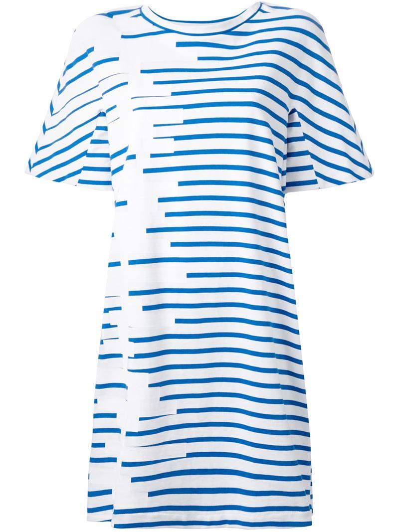 Lyst petit bateau striped t shirt dress in blue for Petit bateau striped shirt