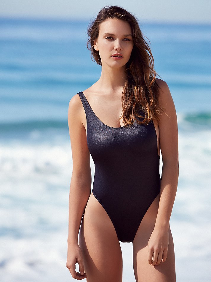 Free People Synthetic Carbon High Cut One Piece In Black -3584
