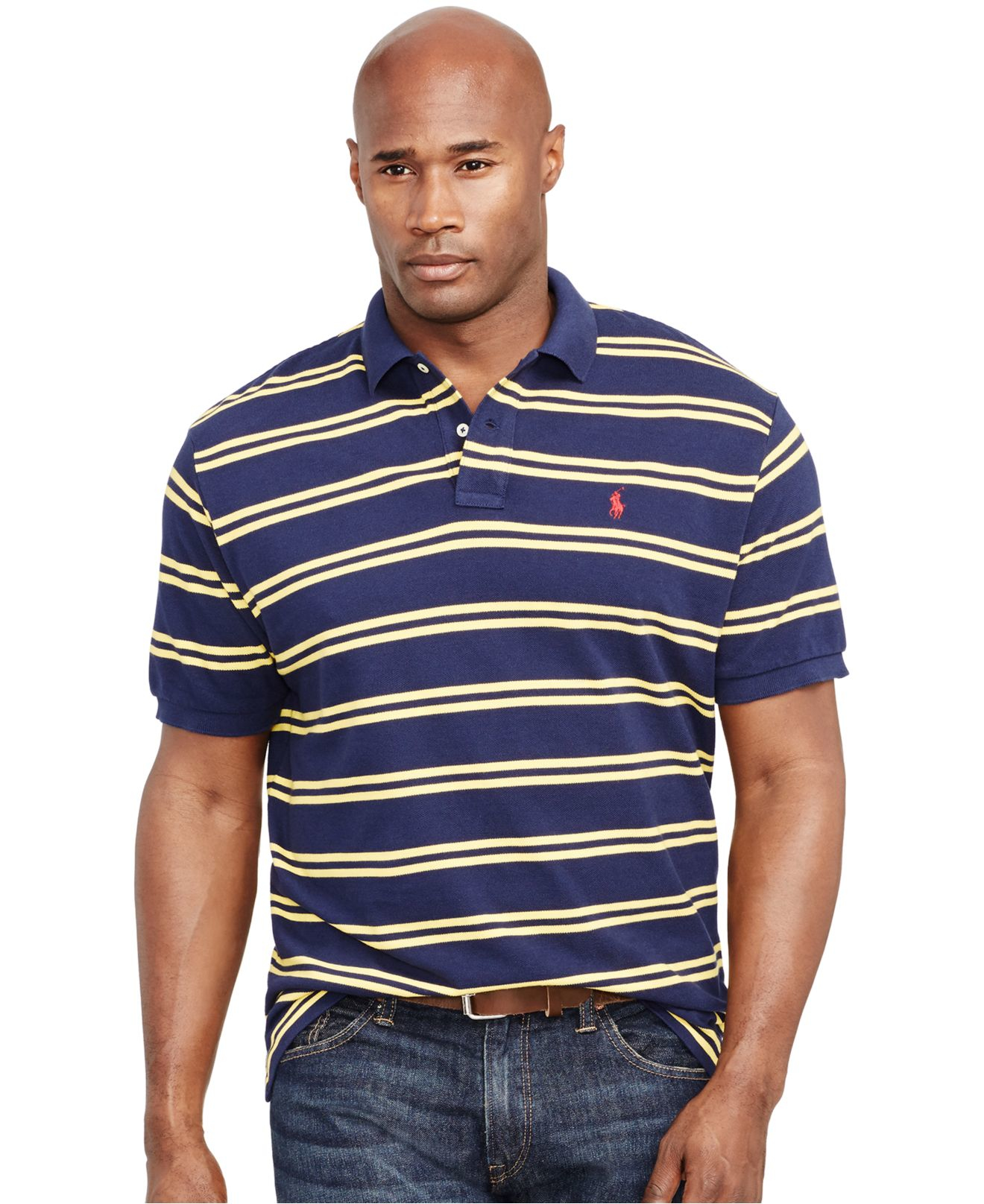 Polo ralph lauren big and tall custom fit striped mesh for Big and tall custom polo shirts