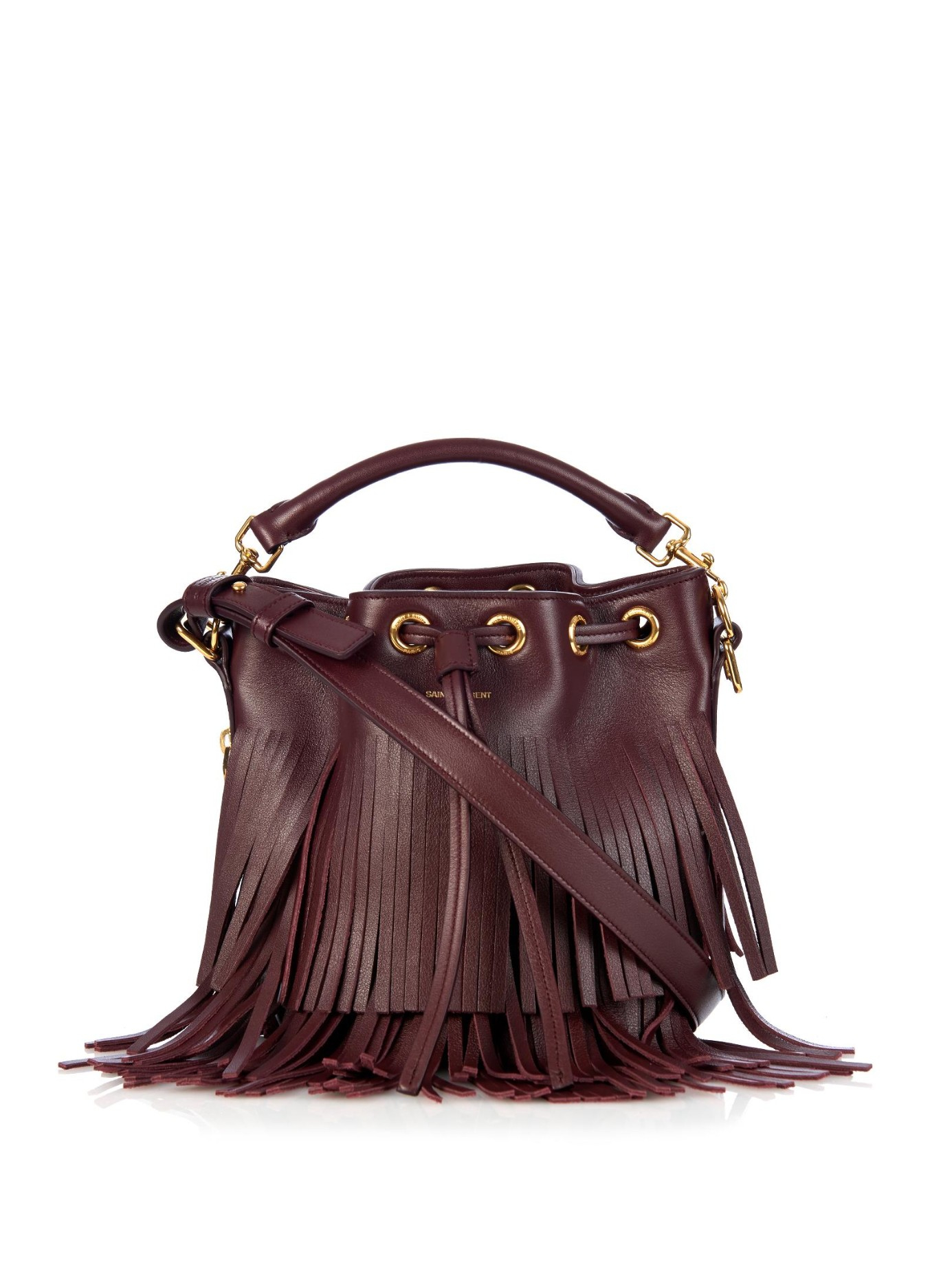 681b38fbdfa9 Lyst - Saint Laurent Emmanuelle Small Fringed Leather Bucket Bag in ...