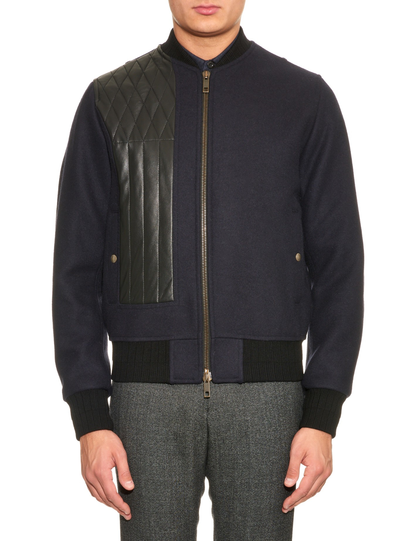Cerruti 1881 Quilted Leather And Wool Bomber Jacket In