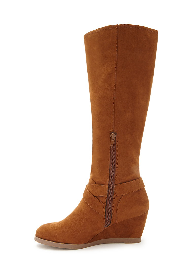 forever 21 knee high faux suede boots in brown lyst