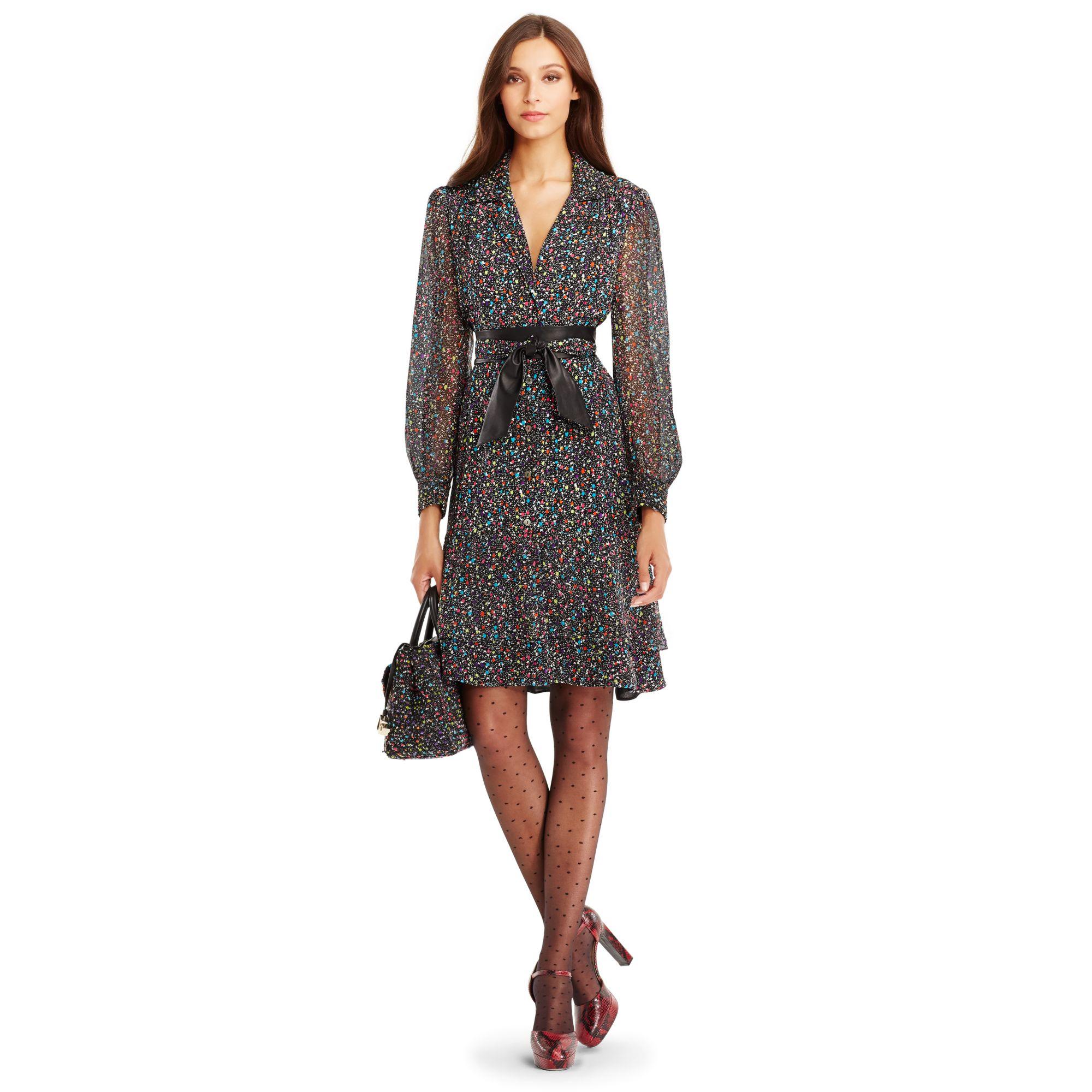 Lyst Diane Von Furstenberg Dvf Catherine Chiffon Shirt Dress In Gray