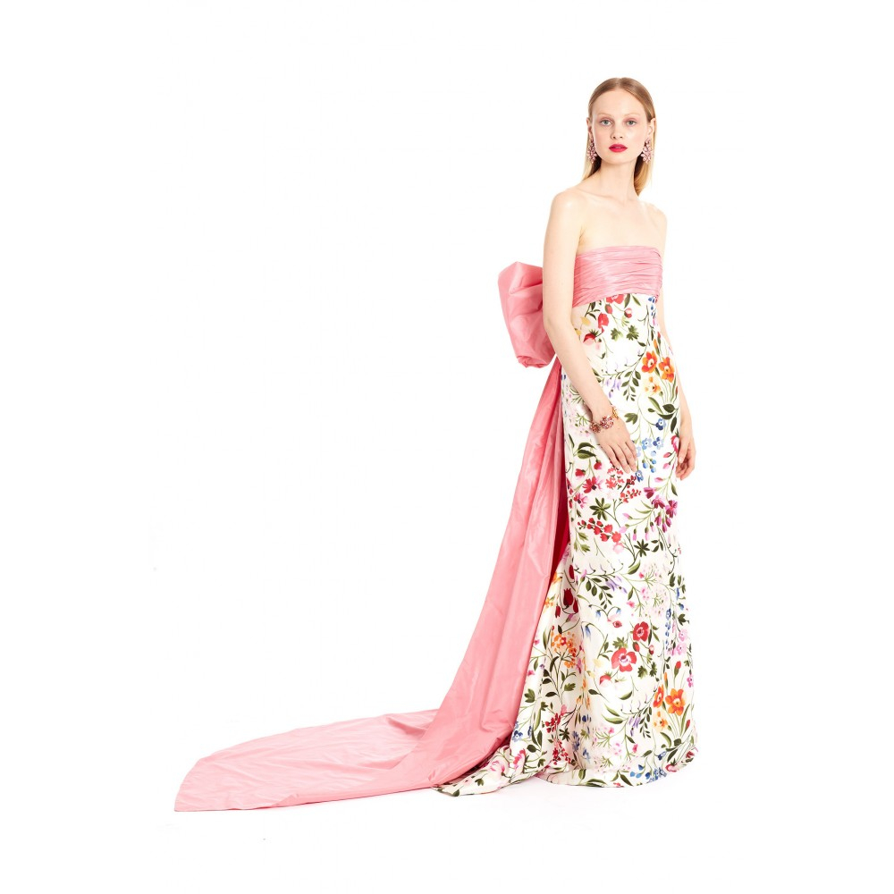 lyst oscar de la renta english garden mikado bow back gown in pink. Black Bedroom Furniture Sets. Home Design Ideas