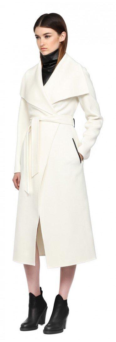 Mackage Mai F5 Off White Long Doubleface Wool Coat In