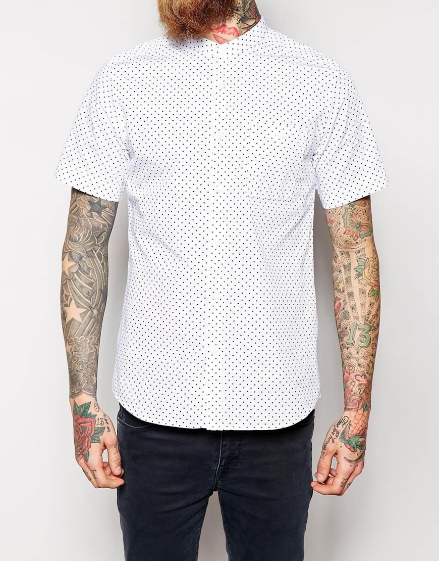 Asos Shirt In Short Sleeve With Polka Dot Print And