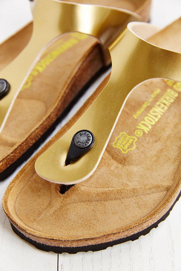 birkenstock gizeh thong sandal in metallic lyst. Black Bedroom Furniture Sets. Home Design Ideas