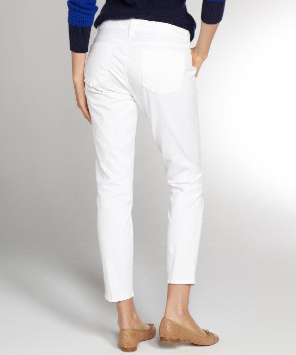 J brand White Stretch Denim On Skinny Capri Jeans in White | Lyst