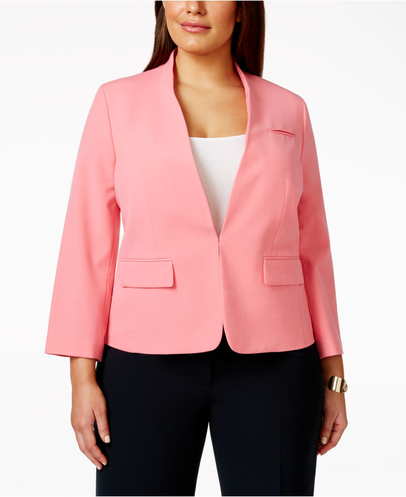 Nine west Plus Size Collarless Long-sleeve Suit Jacket in Pink | Lyst