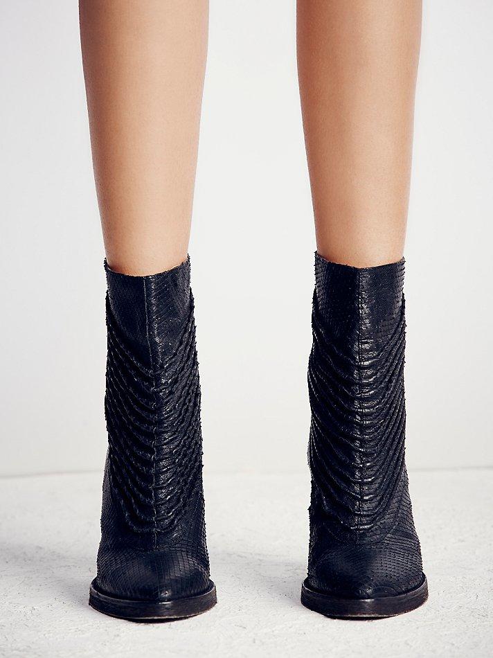 Free People Leather Barleda Heel Boot in Black