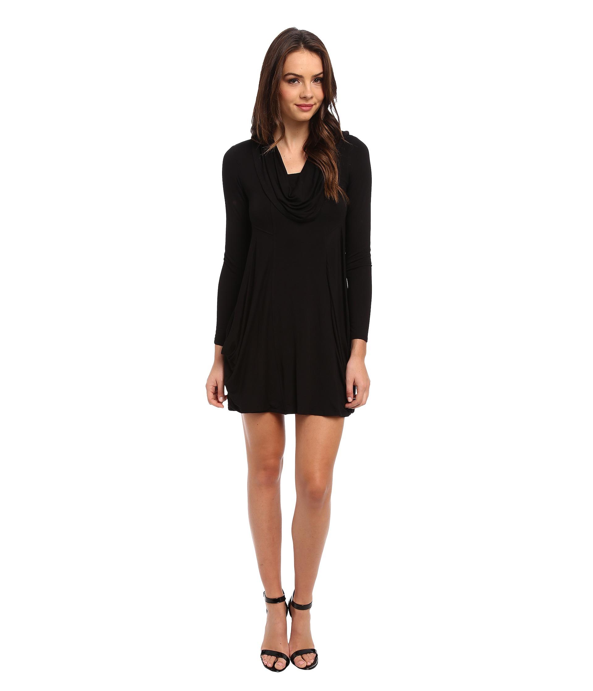 Cowl Dress: Kensie Cowl Neck Pocket Dress In Black