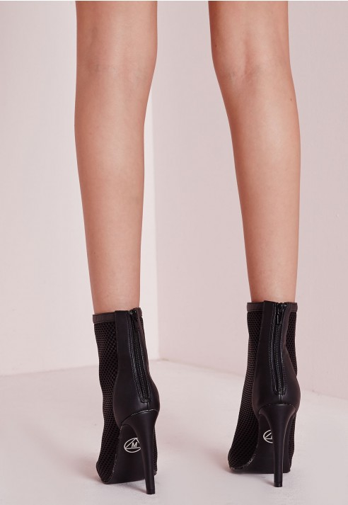 Missguided Mid Calf Mesh Peep Toe Ankle Boots in Black