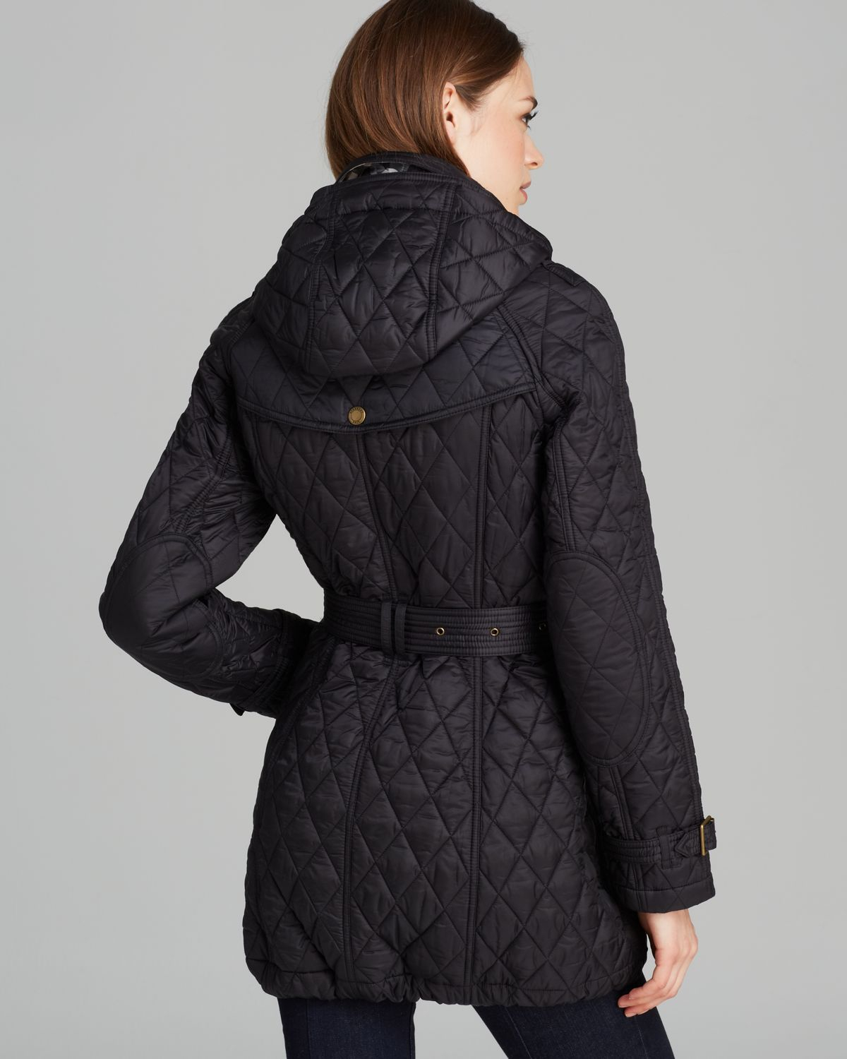 Burberry Finsbridge Long Quilted Coat In Black Lyst