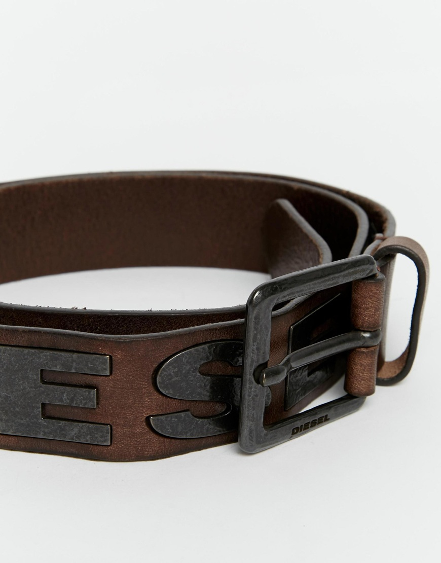 Diesel B Bold Leather Belt In Brown For Men Lyst
