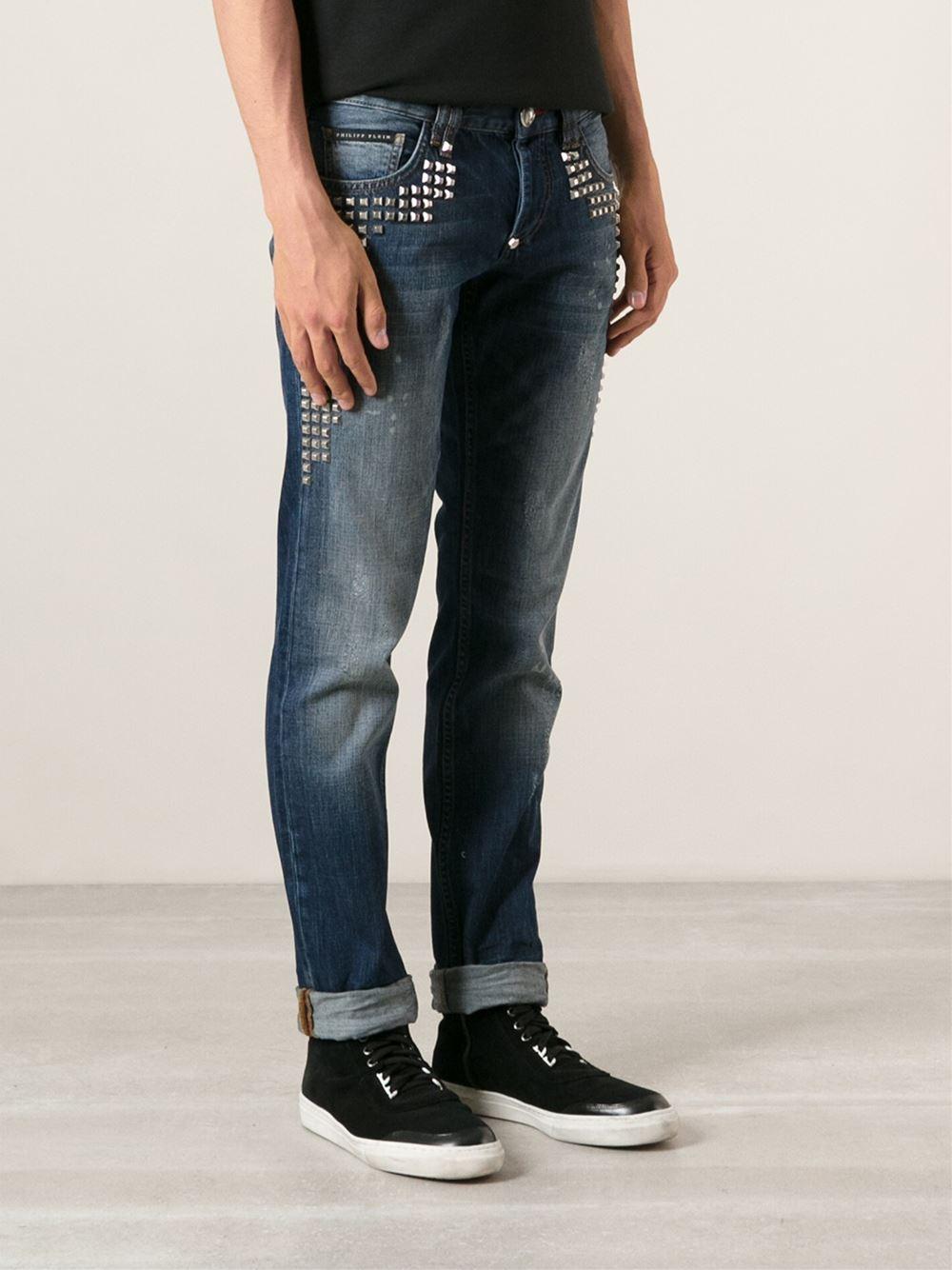 philipp plein studded slim fit jeans in blue for men lyst. Black Bedroom Furniture Sets. Home Design Ideas