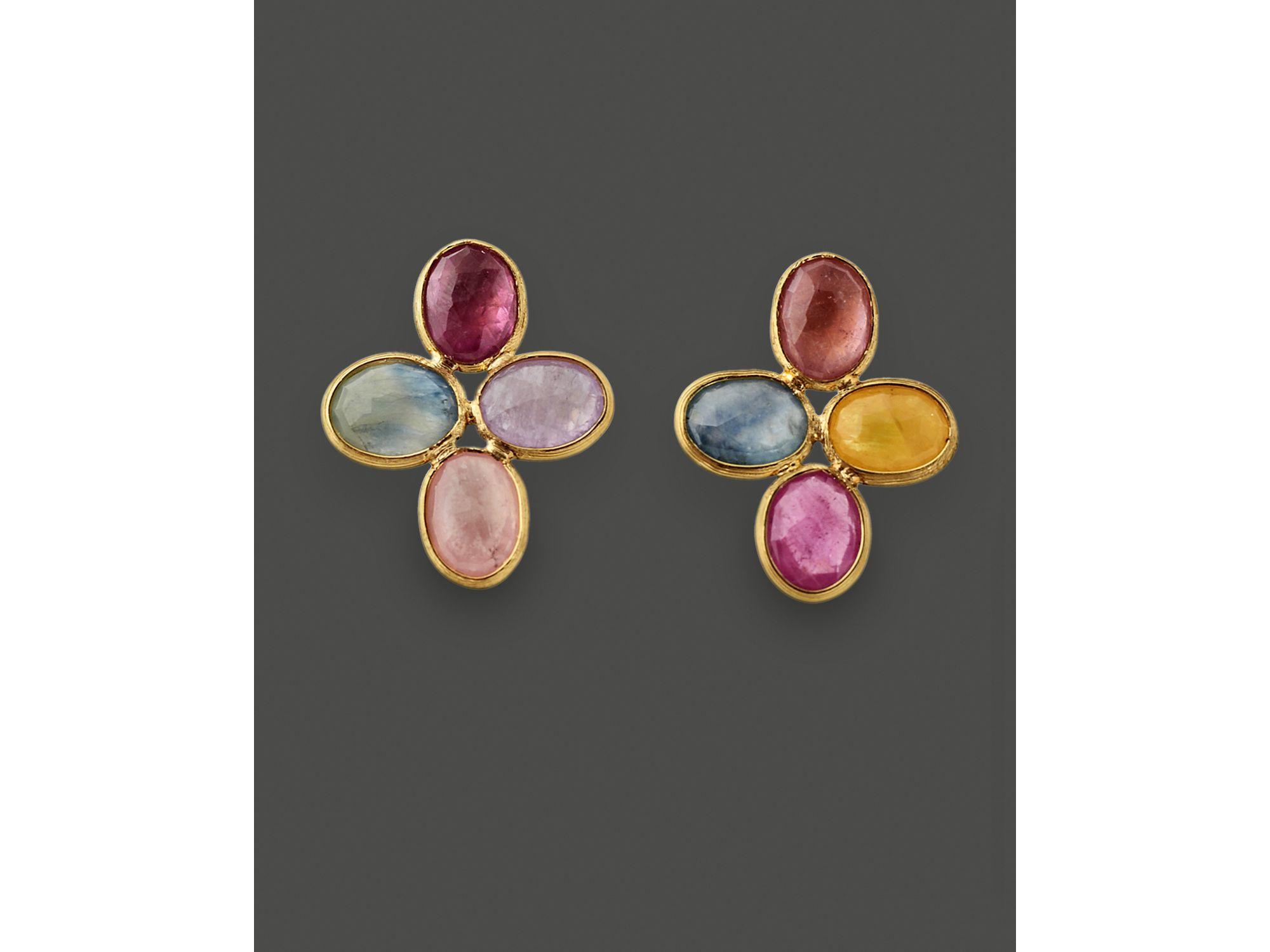 Lyst Marco Bicego 18k Yellow Gold Siviglia Sapphire Flower Earrings