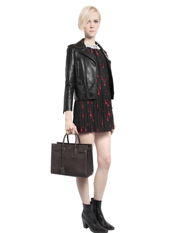 5686c7865a Saint Laurent Black Small Sac De Jour Grained Leather Bag