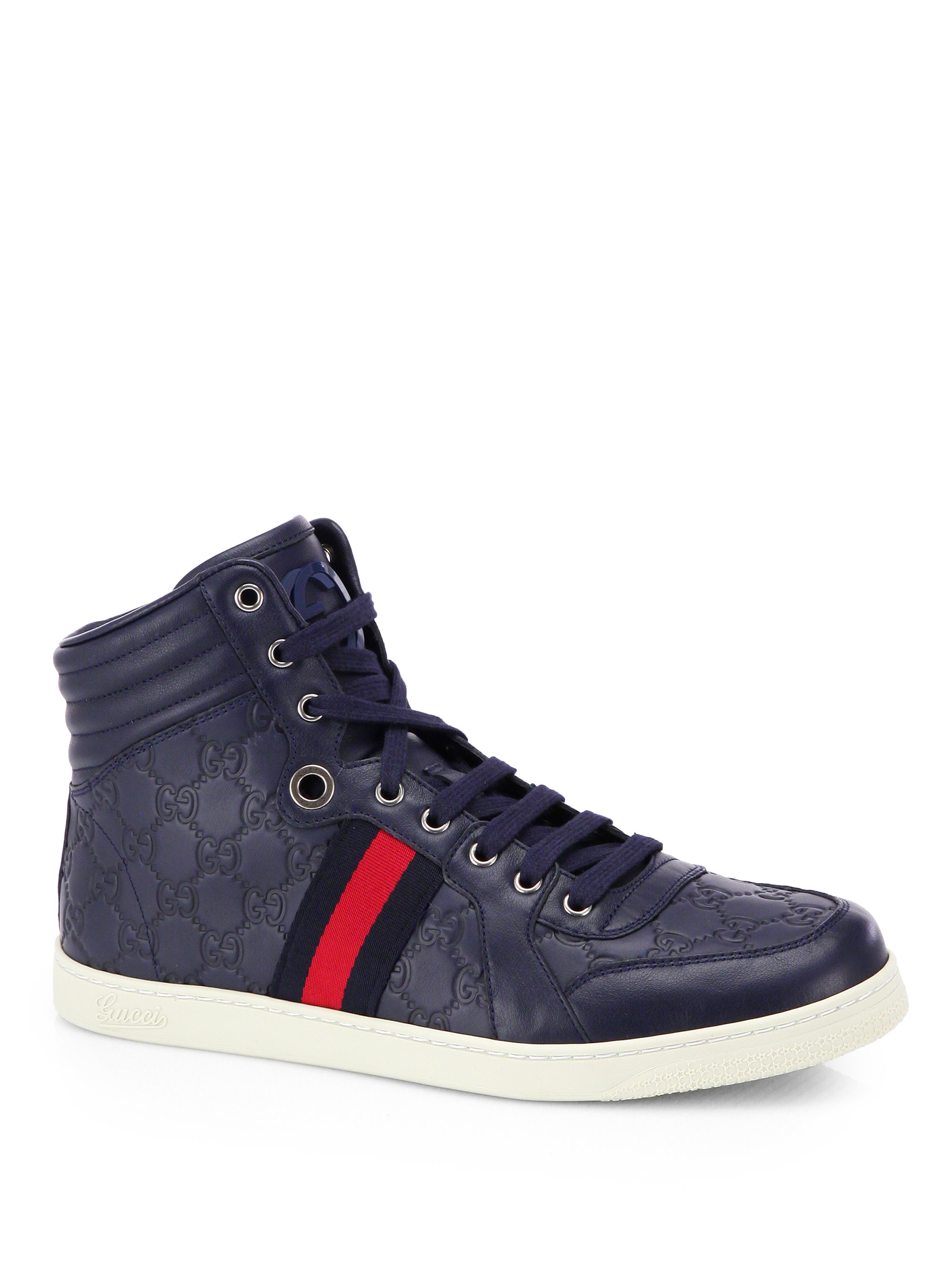 gucci embossed gg leather high top sneakers in blue for. Black Bedroom Furniture Sets. Home Design Ideas