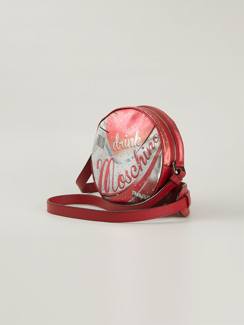Moschino Drink Leather Cross-Body Bag in Red