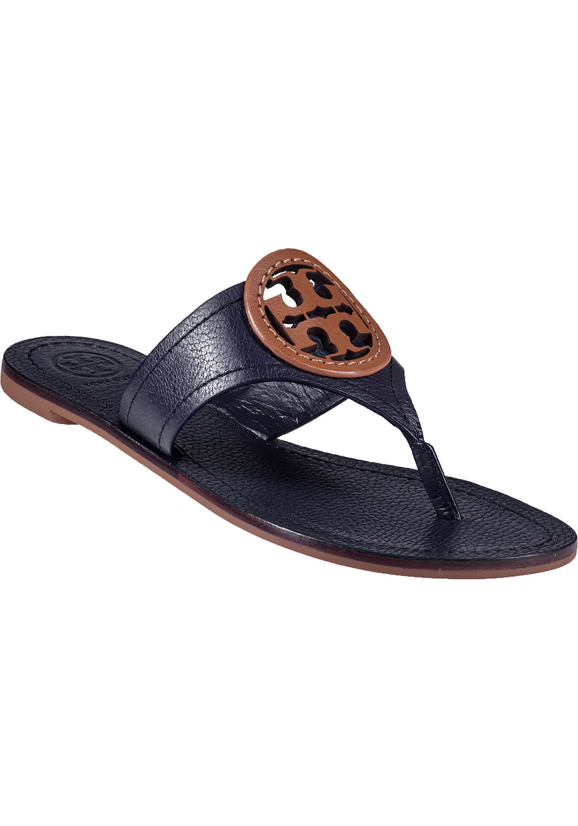 Tory Burch Louisa Thong Sandal Navy Leather In Blue Lyst
