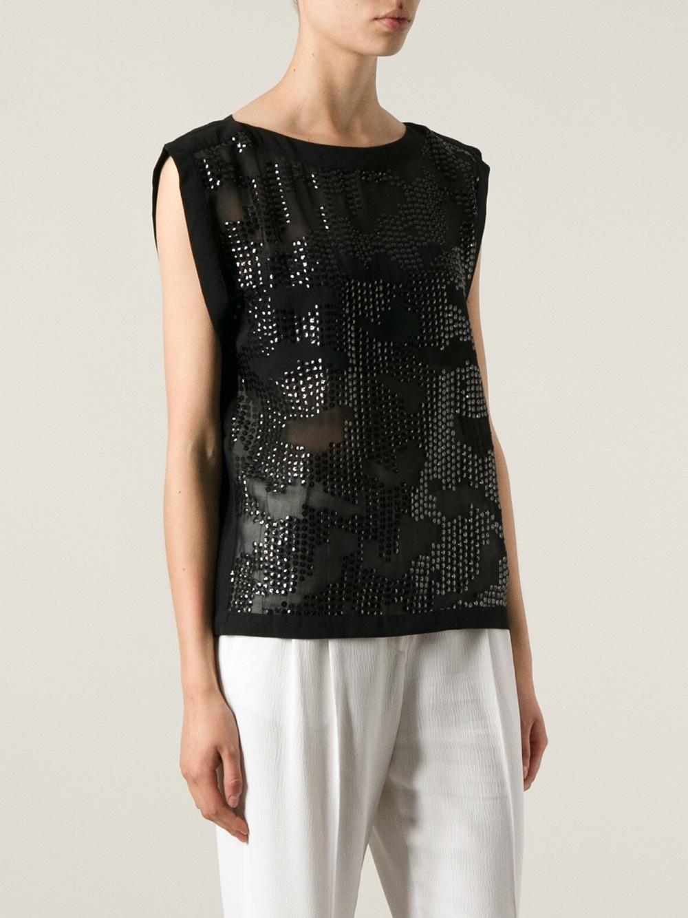 lyst day birger et mikkelsen sequin top in black. Black Bedroom Furniture Sets. Home Design Ideas