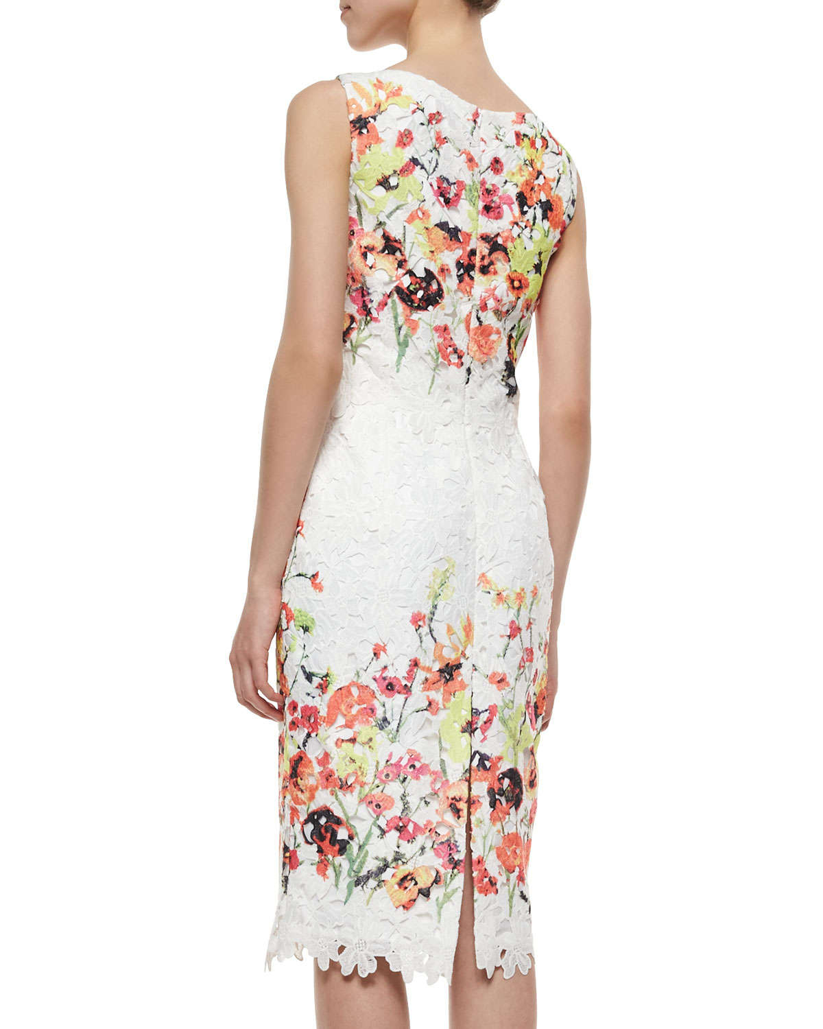 718460cd4a Badgley Mischka Sleeveless Floral-Embroidered Lace Dress - Lyst