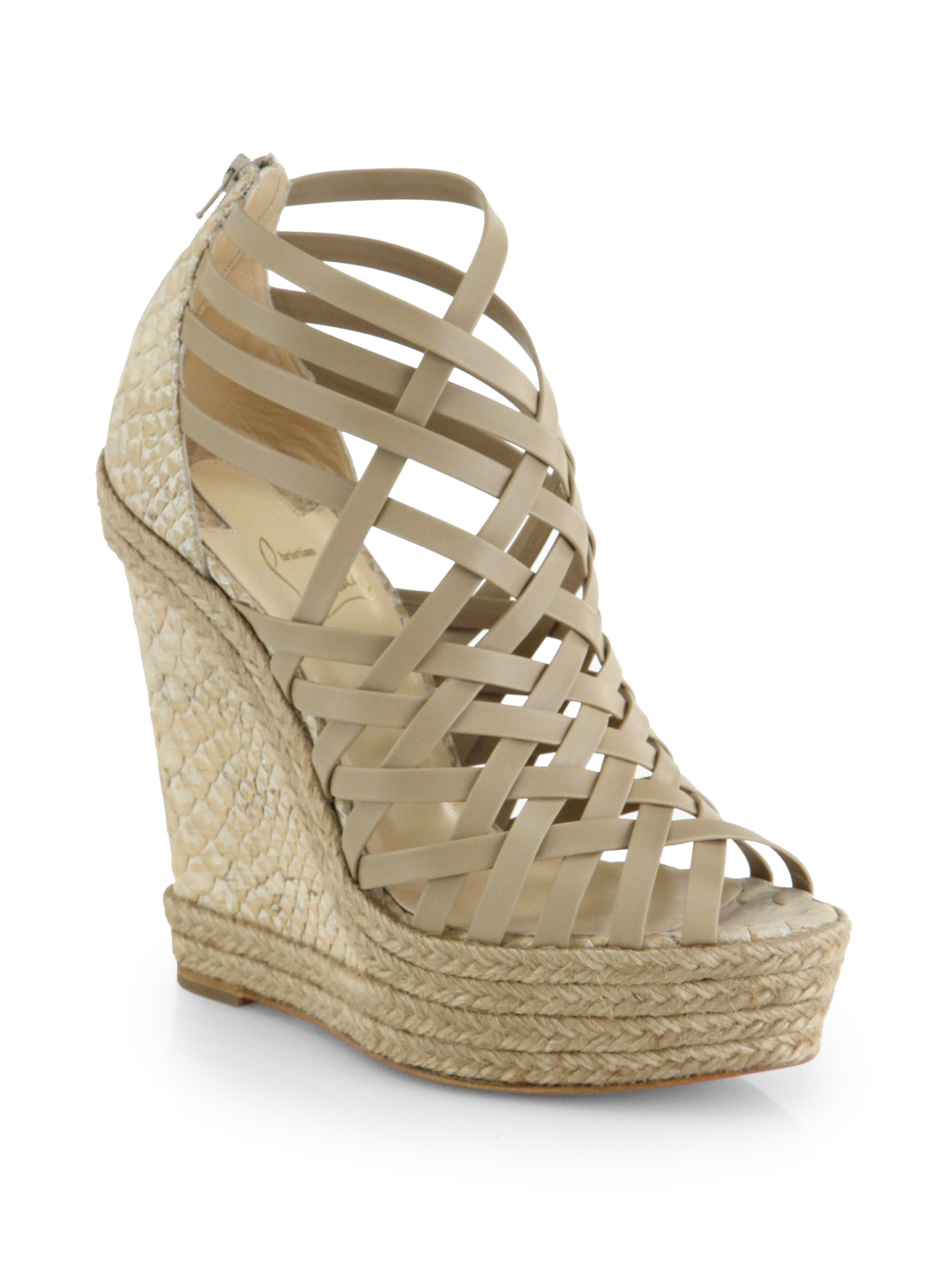 2bd5d4377ec8 ... real lyst christian louboutin tramontagne leather cork wedge sandals in  96f53 ceceb