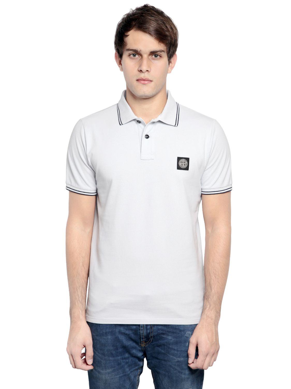 Stone island stretch cotton piqu polo shirt in white for for Stretch polo shirt mens