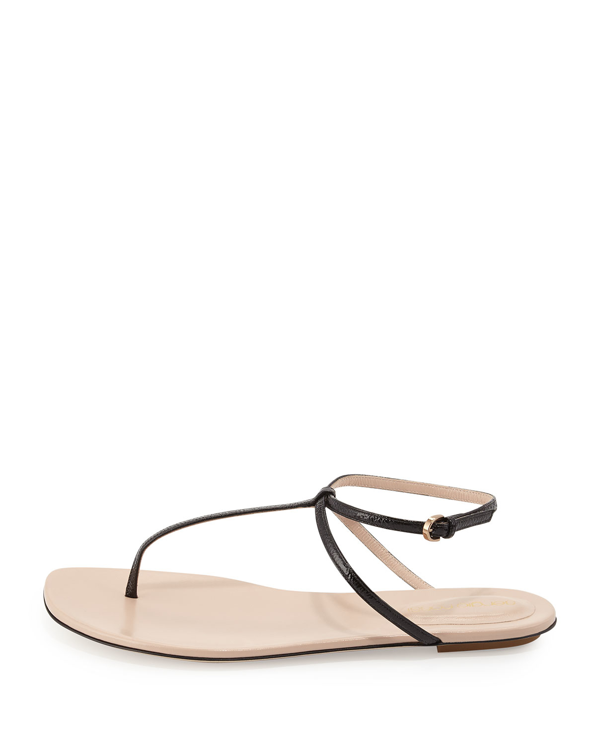 bf1ffbf3437e Sergio Rossi Skinny-strap Leather Thong Sandal in Black - Lyst