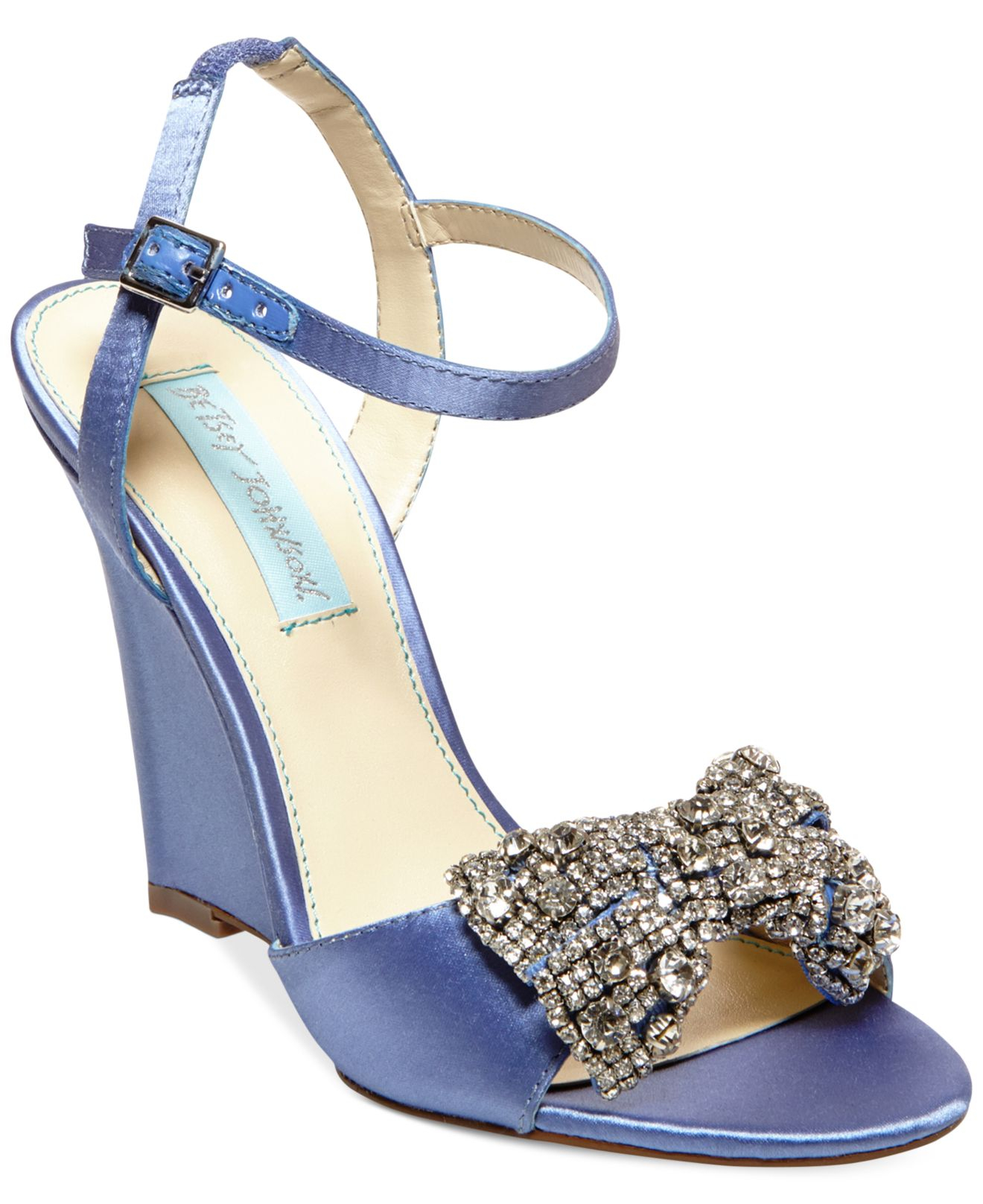 betsey johnson blue by dress wedge evening sandals in blue