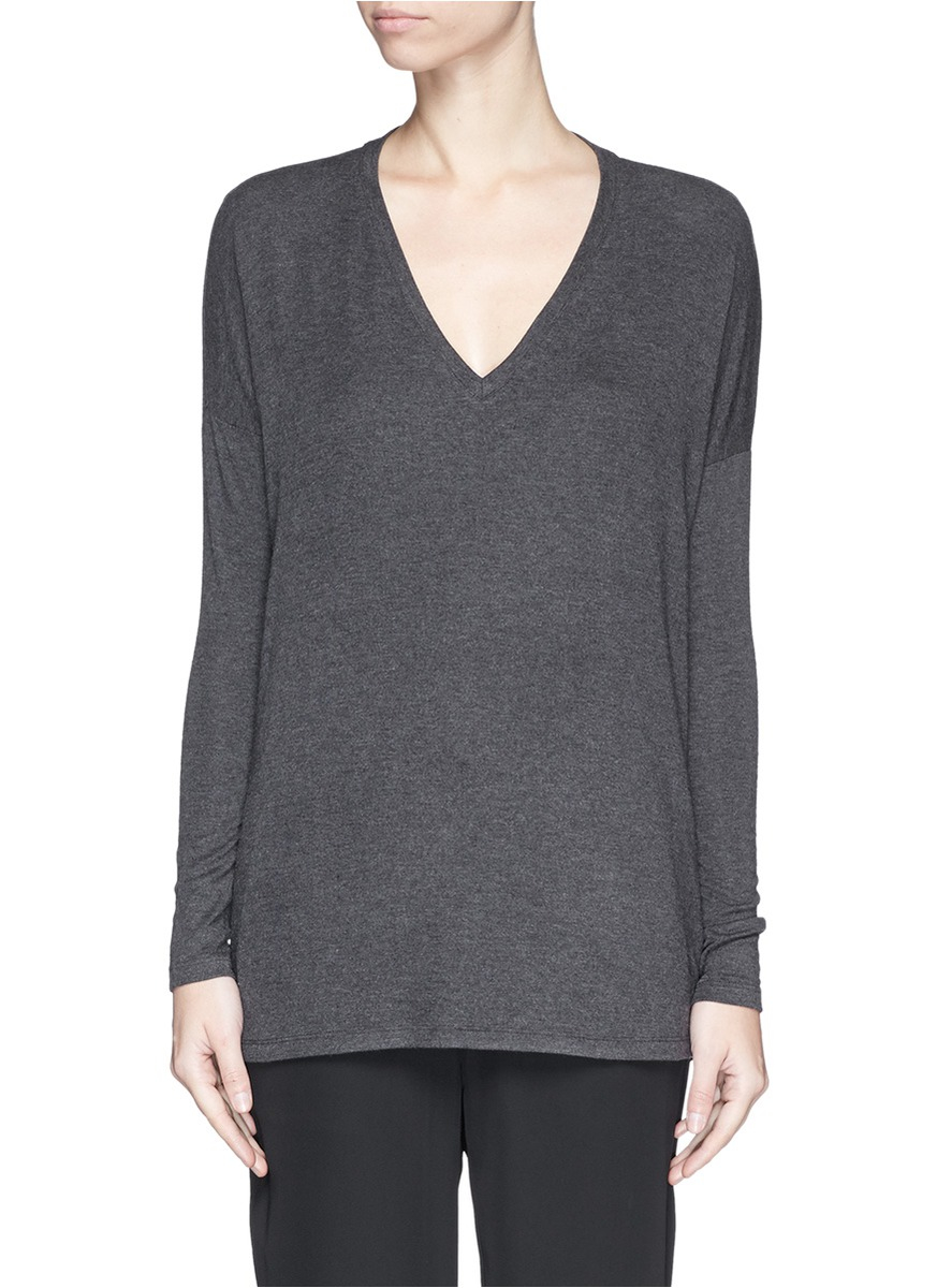 Vince luxe v neck long sleeve t shirt in gray lyst for Vince tee shirts sale