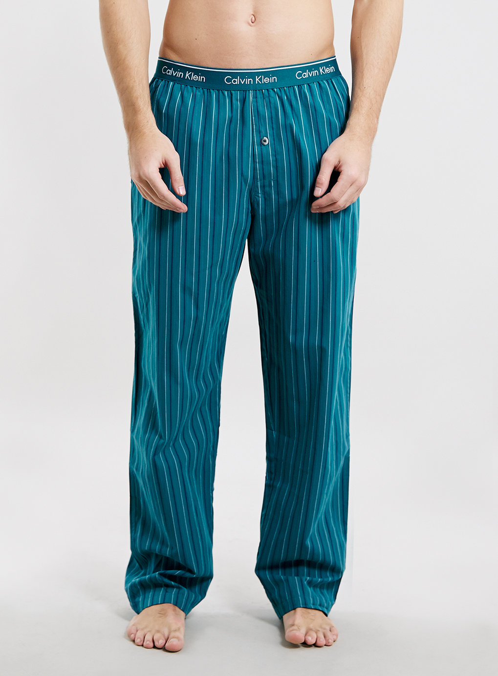 Calvin Klein Green Stripe Woven Pyjama Pants In Green For