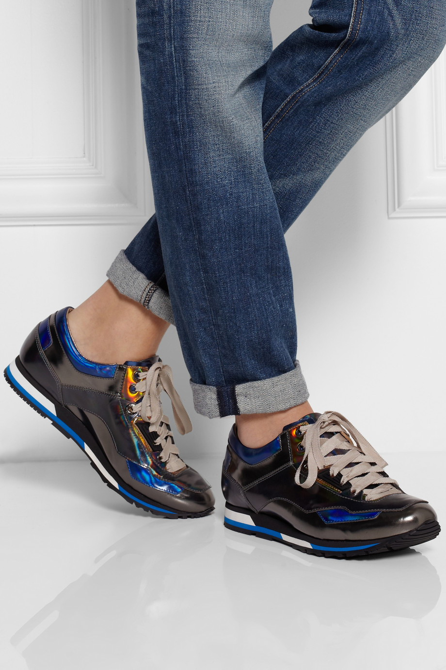 Lanvin Holographic Leather Sneakers in Blue