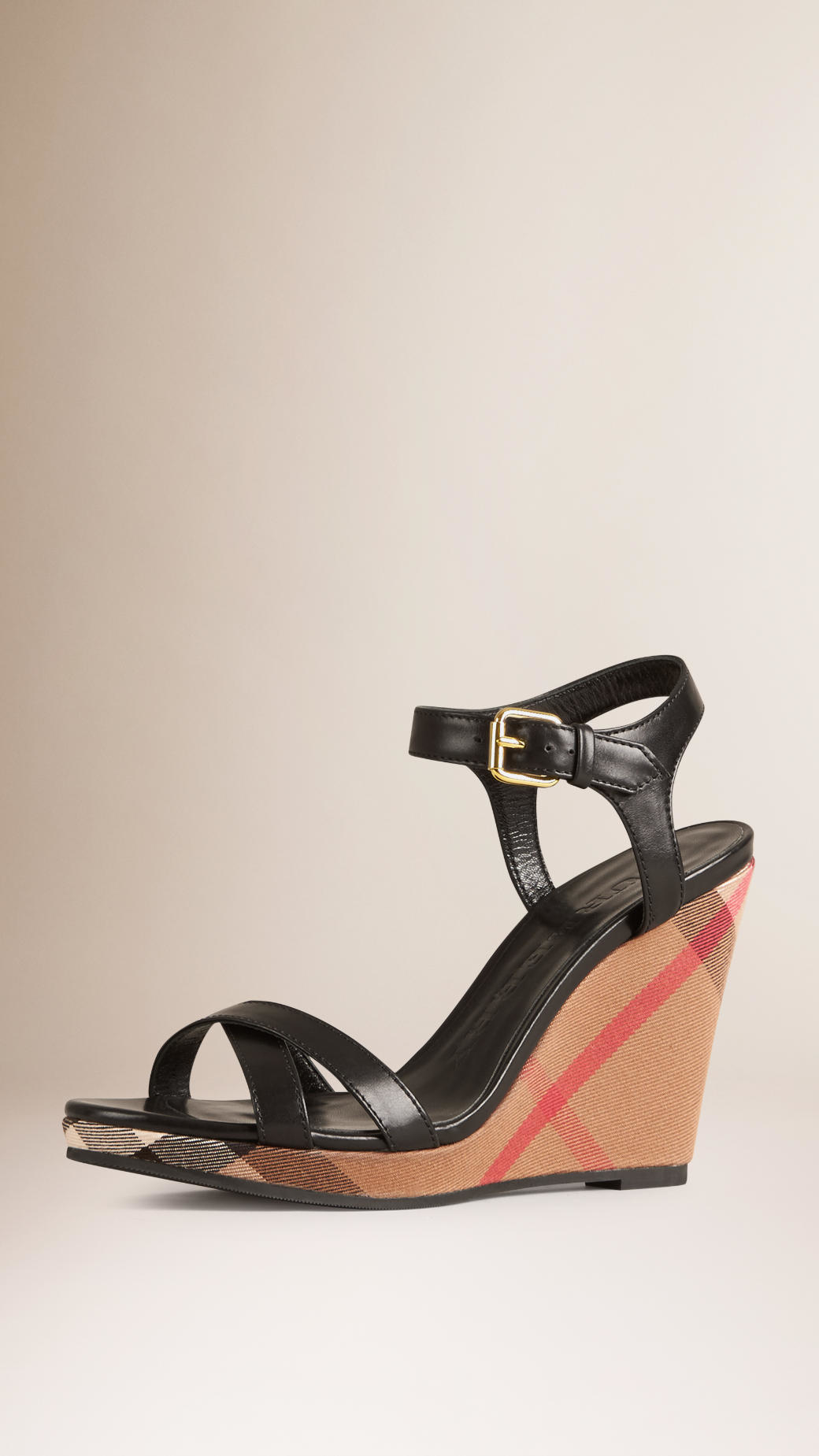 burberry house check leather wedge sandals in black lyst
