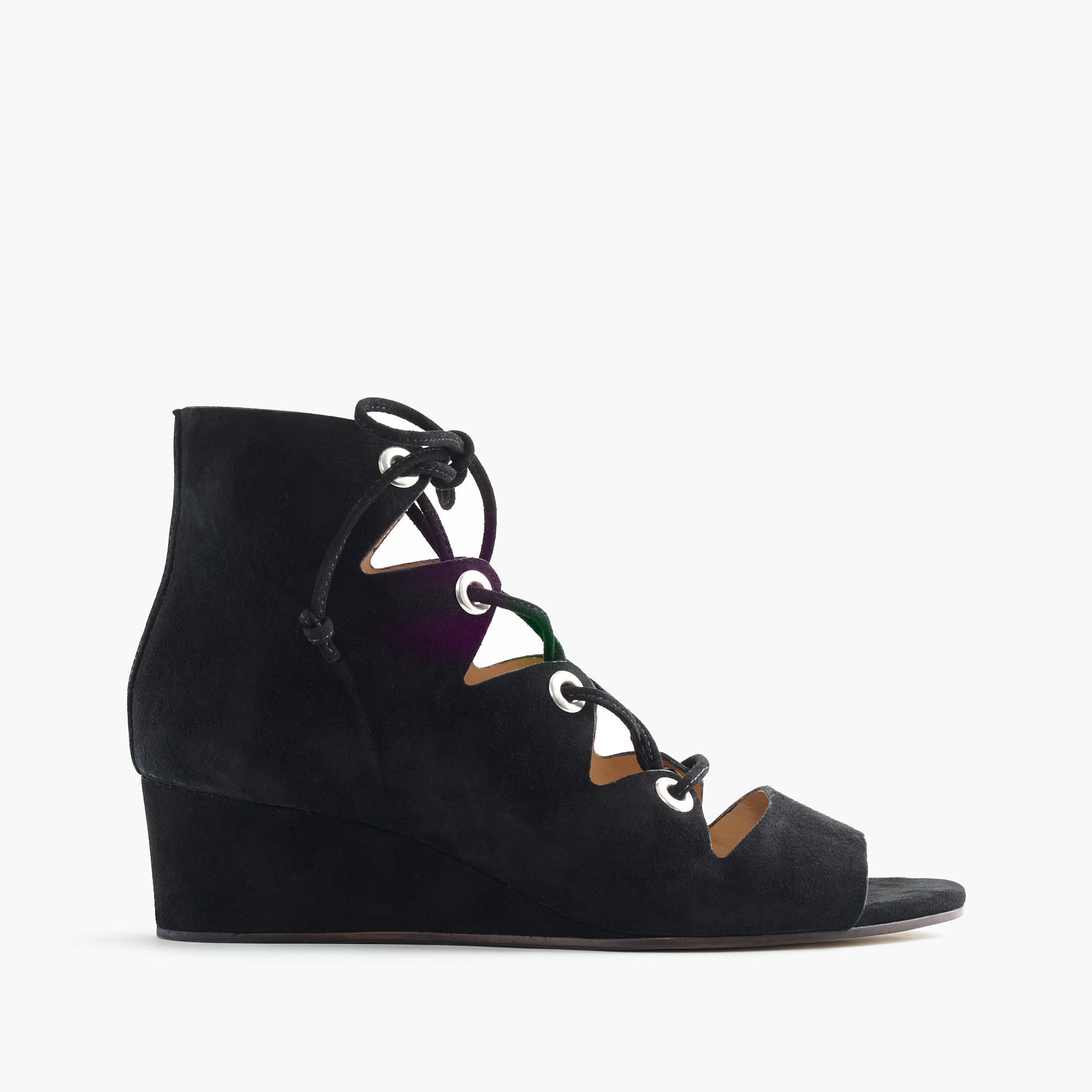 4c41b24c1582 Lyst - J.Crew Laila Lace-up Wedges In Suede in Black