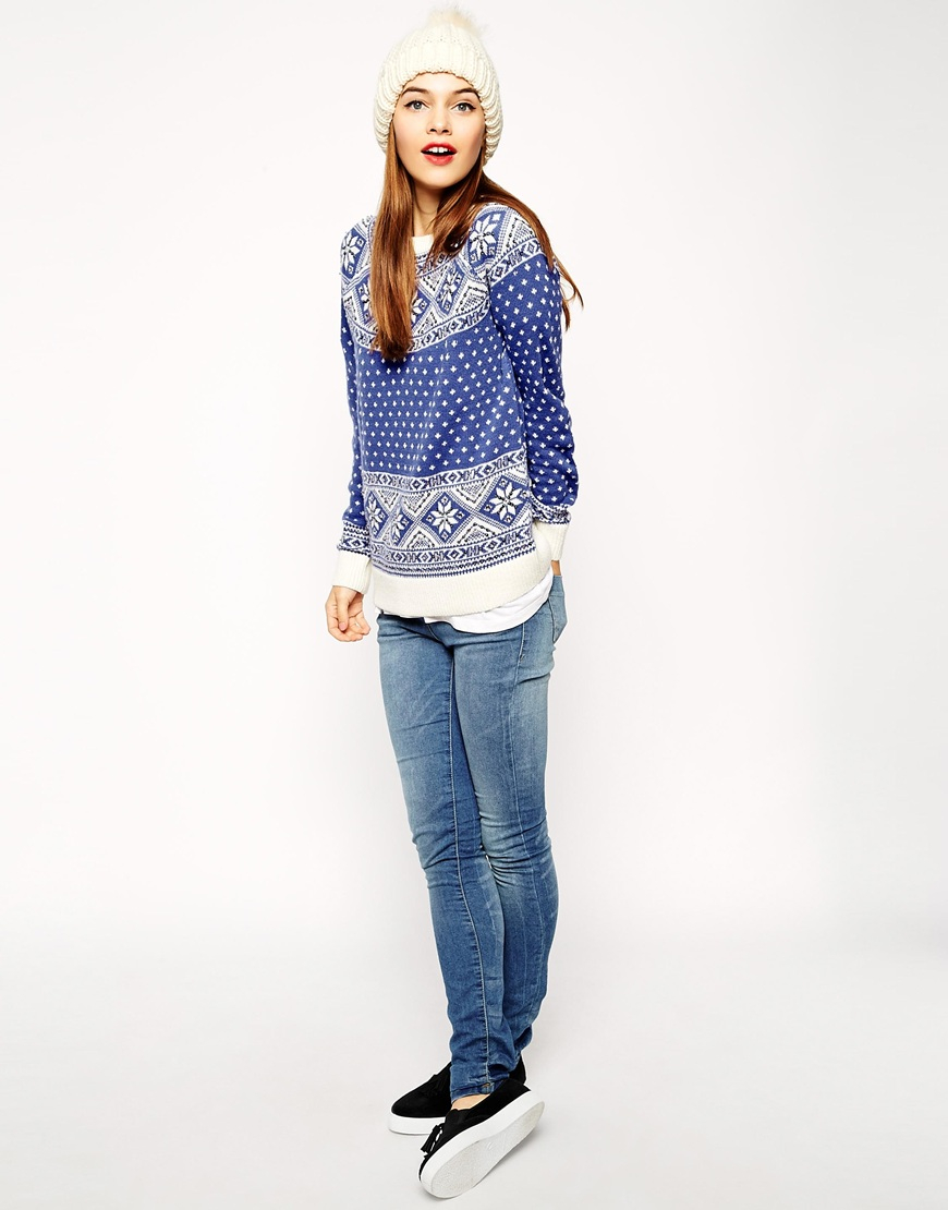 lyst asos christmas jumper in fairisle with