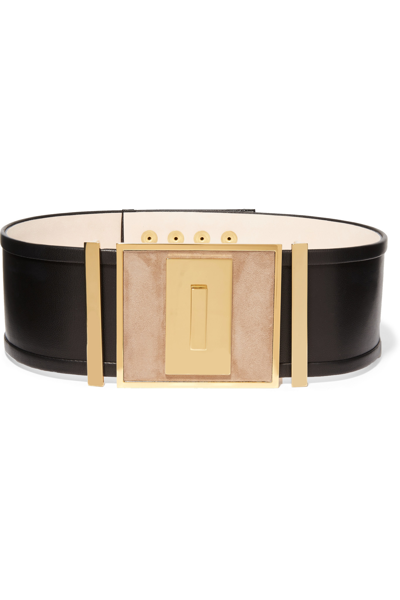 69780bebd3 Balmain Leather And Suede Waist Belt in Black - Lyst