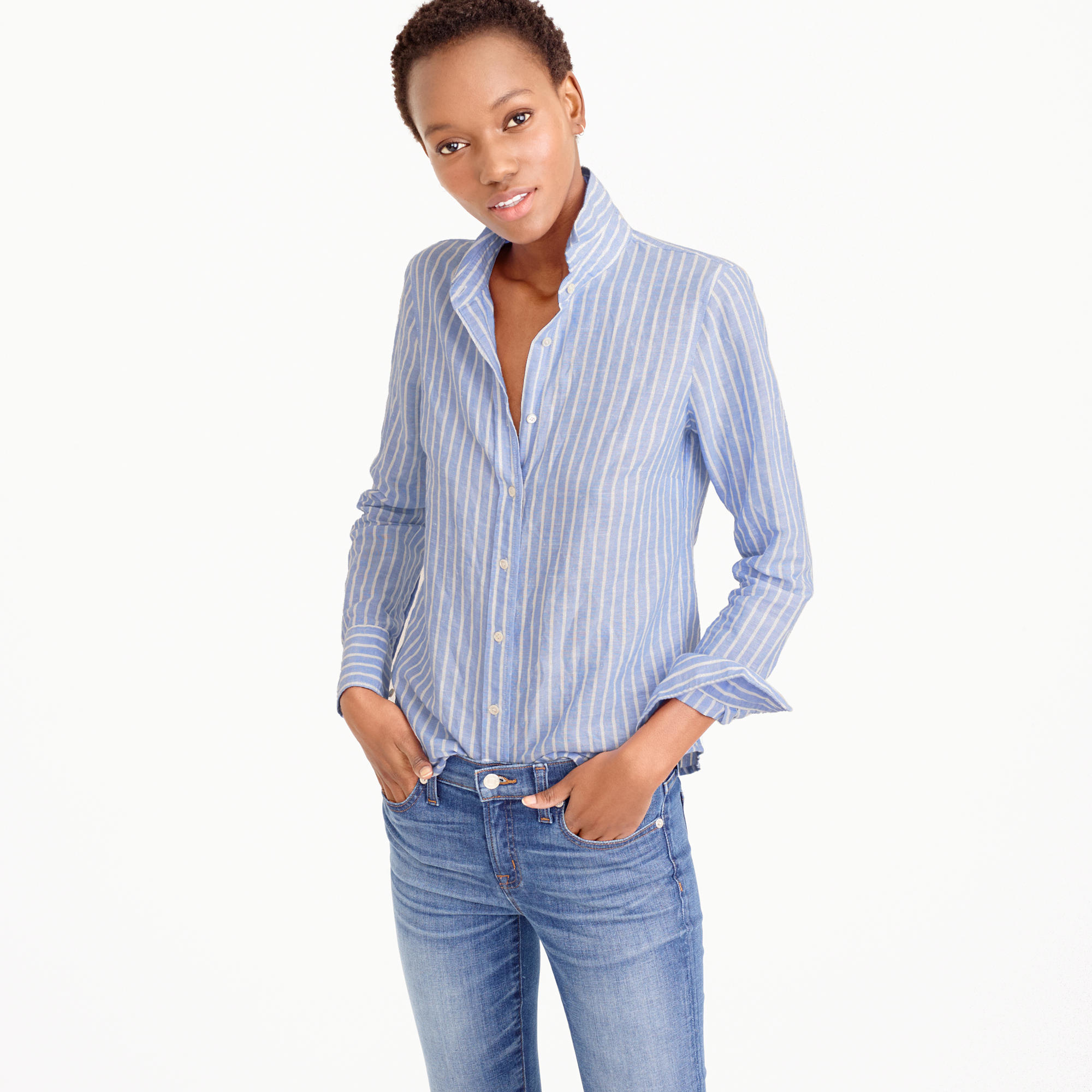 Tall perfect shirt in striped cotton linen in for Womens tall button down shirts