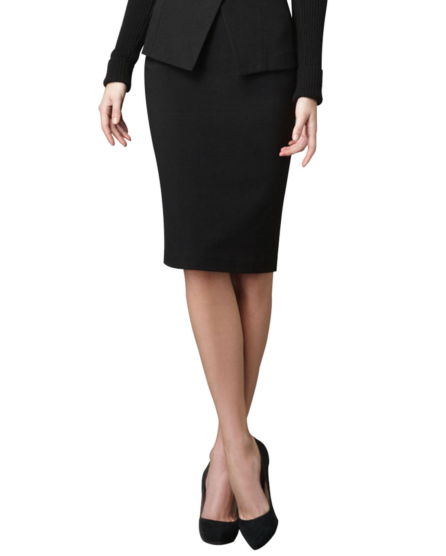 Knee Length Black Pencil Skirt - Dress Ala