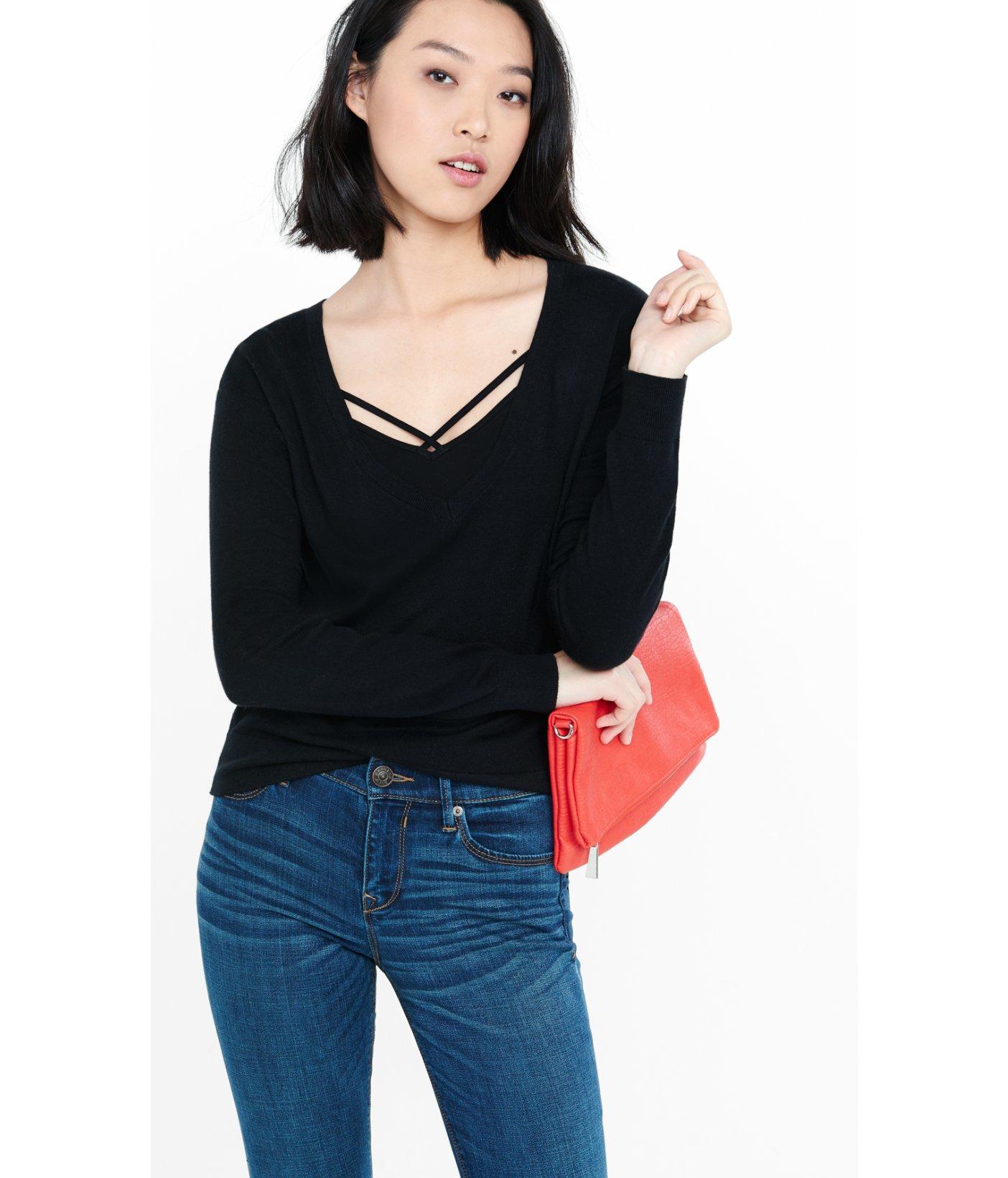 Express Deep V Neck Cut Out Zip Back Abbreviated Sweater