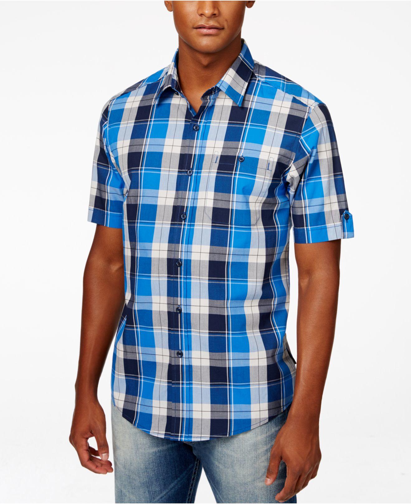 Sean john men 39 s plaid satin short sleeve shirt in blue for for Sean john t shirts for mens